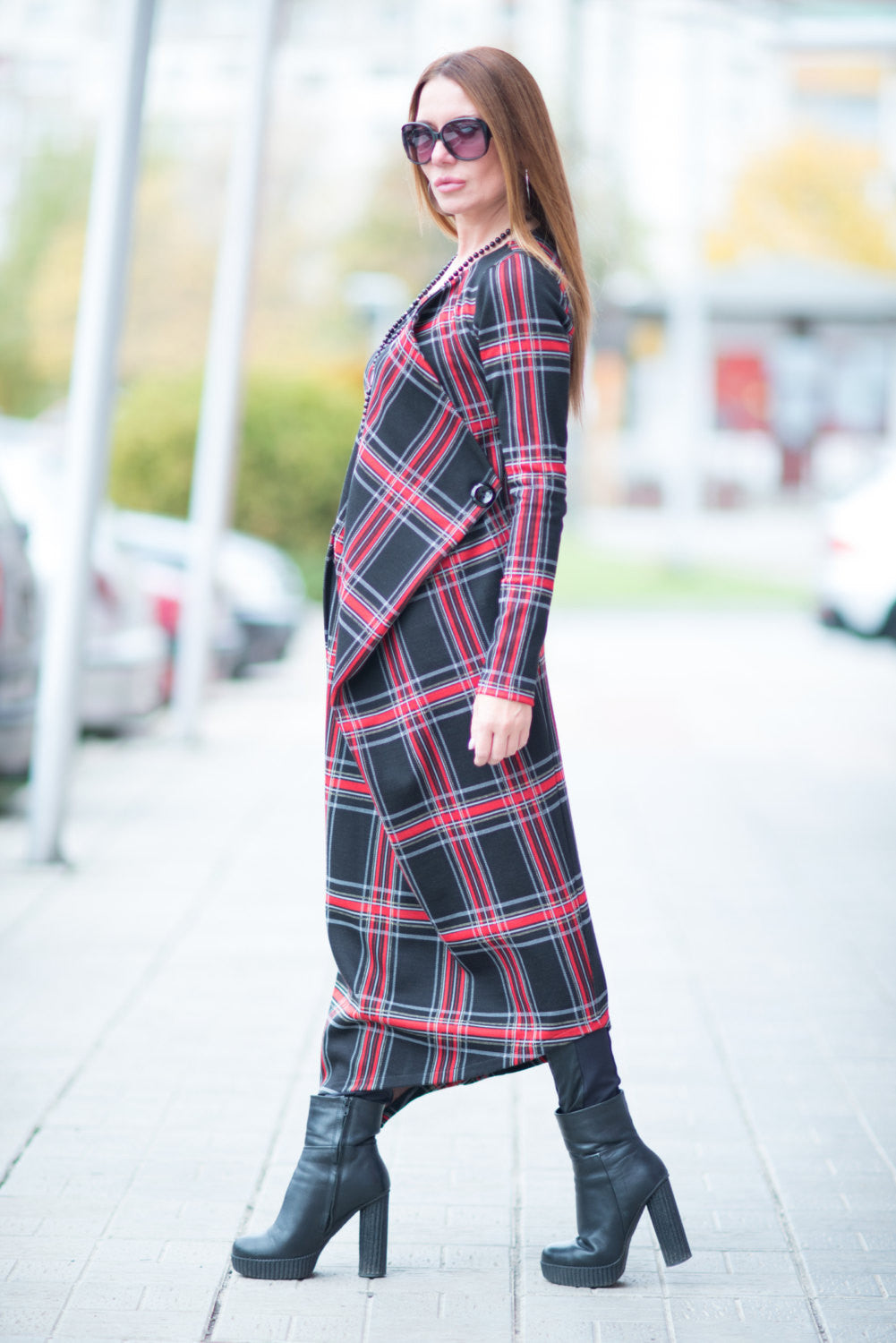 Long Scottish Plaid Dress long Sleeve, Dresses & Maxi Dresses