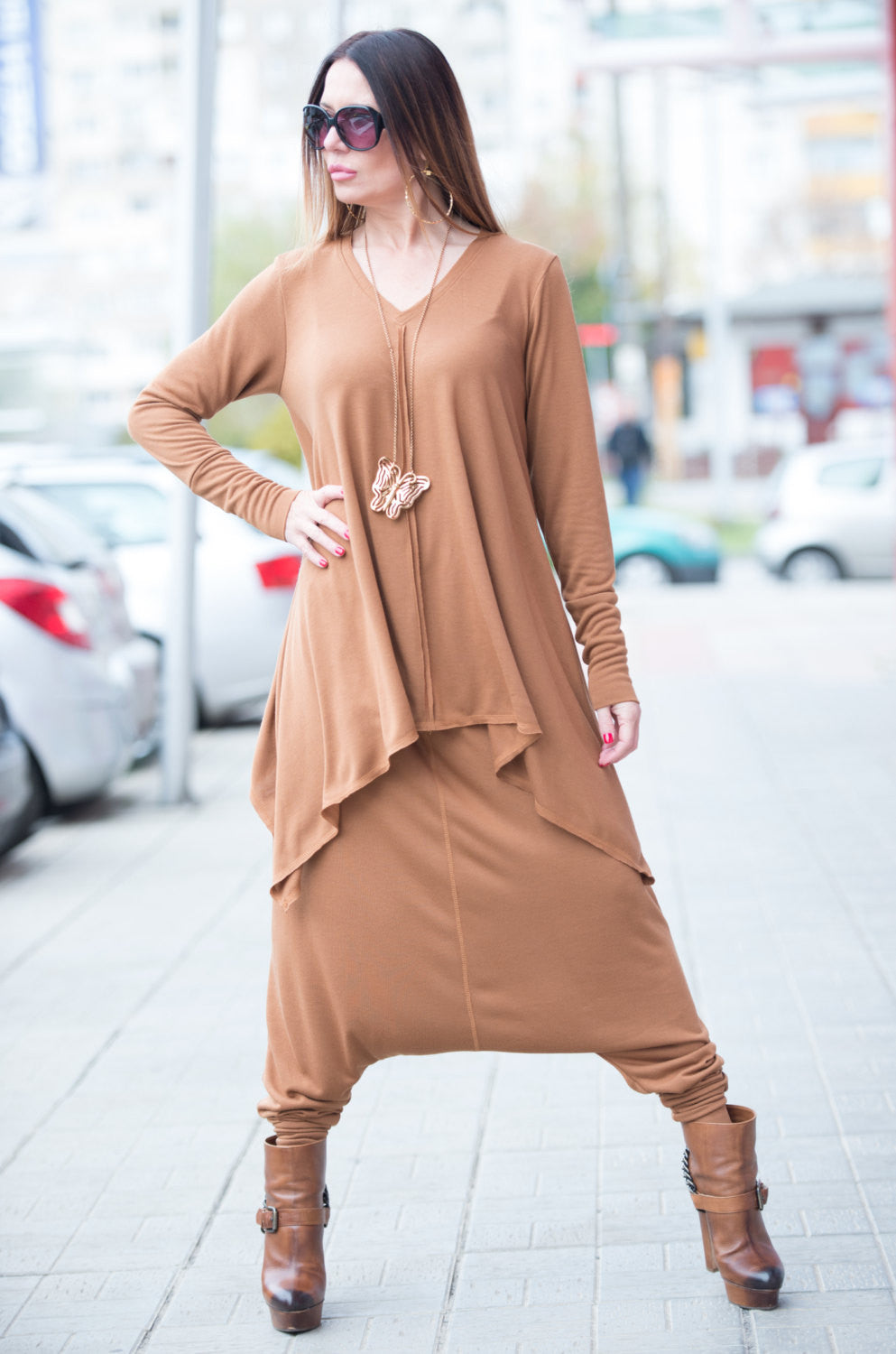 Oversized Dark Beige Cotton Knitting Top, Tops & Tunics