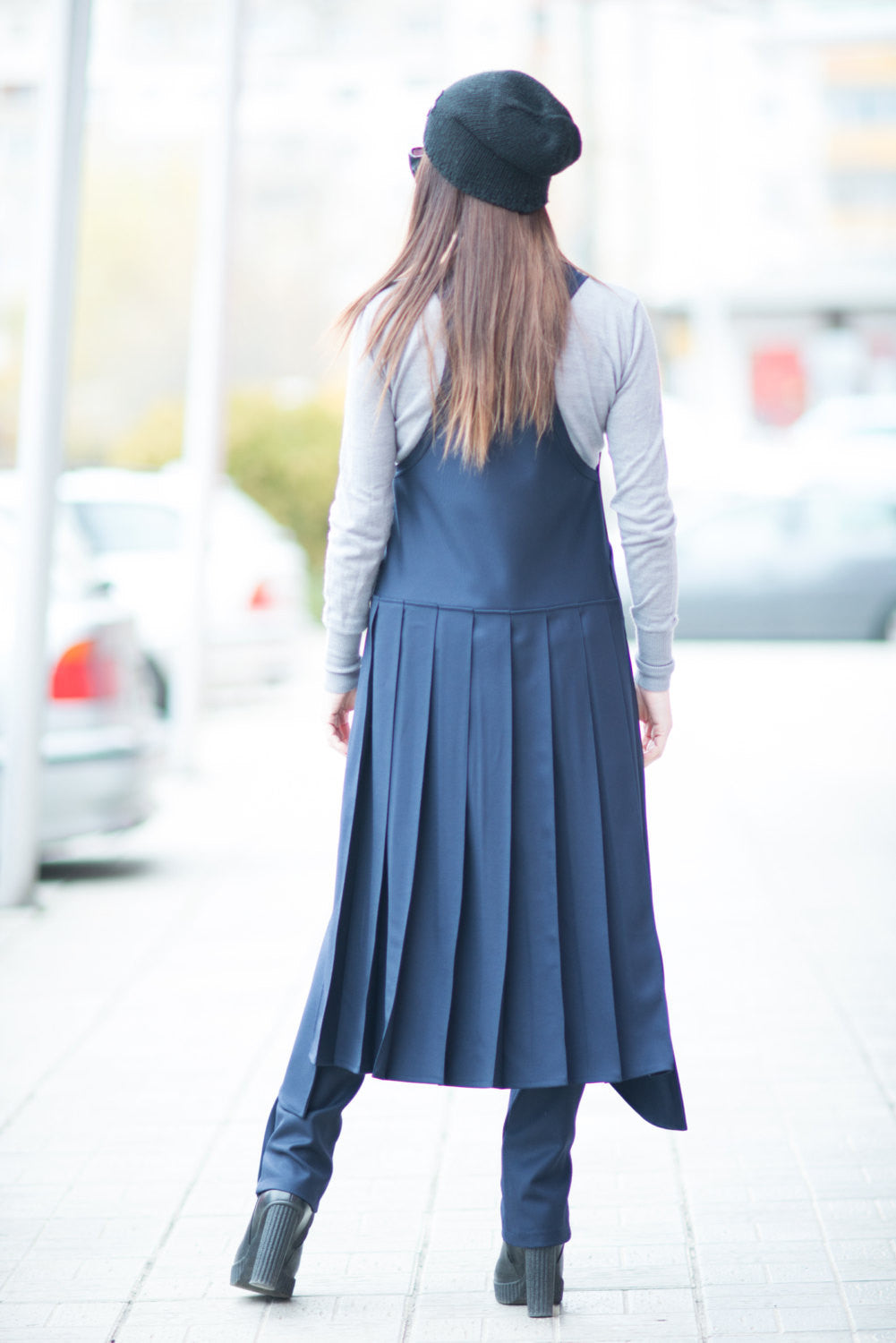 Navy Blue Cold Wool Vest with Loose Drop Crotch Harem Pants