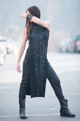 Sleeveless Black Long Tunic, Tops & Tunics