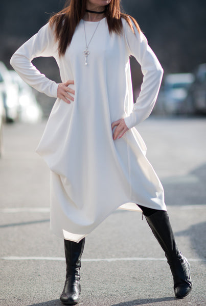 White Oversize Dress, Long Sleeves Dress, White Maxi Dress, Loose Tunic, Plus Sizes Dress