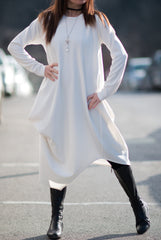 Autumn Winter White Cashmere Dress with Long Sleeves
