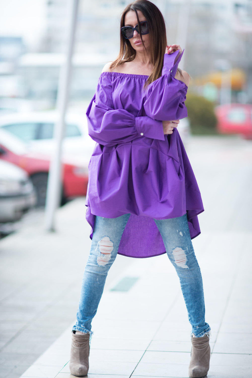Purple Loose Tunic, Elegant cotton Shirt, Tops & Tunics