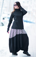 Black Shepherd's Plaid Cotton Skirt and Cotton Zipper Top Set
