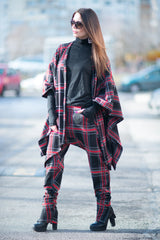 Autumn Scottish Plaid Women's Zipper Vest, Asymmetrical Wool Poncho