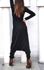 Loose Casual black Drop Crotch Harem Pants - EUG FASHION