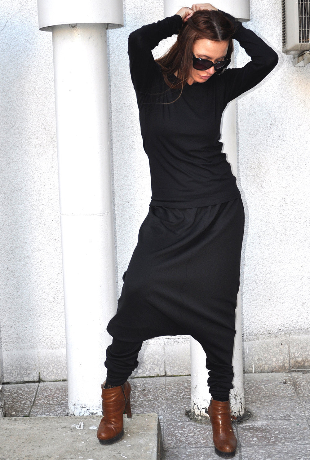 Black Cotton Shirt with Long sleeves, Black Blouse, Fashion Dress
