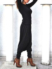 Loose Casual black Drop Crotch Harem Pants, black Pants