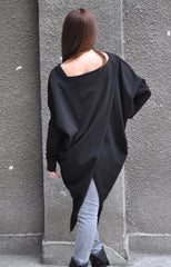 Black Women's Maxi Tunic, Elegant Sexy Women Tunic, Loose Tunic Top, Black Cotton Top