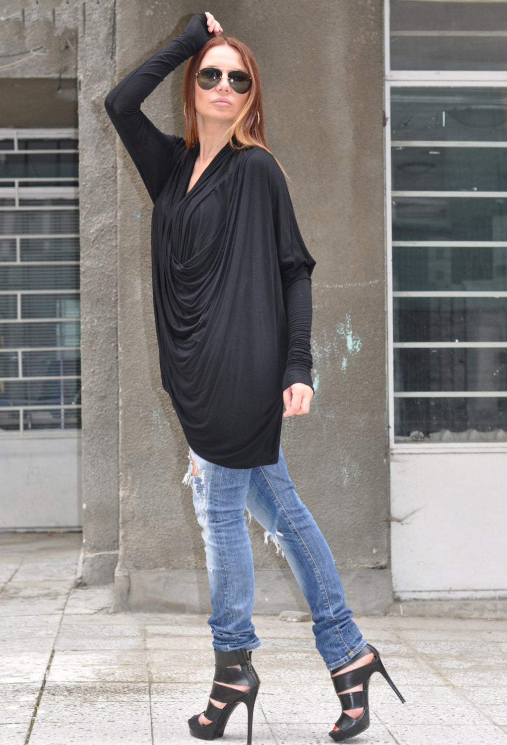 Maxi Tunic, Oversize Twisted Top, Tunic, Black Loose Cotton Tunic, Black Dress