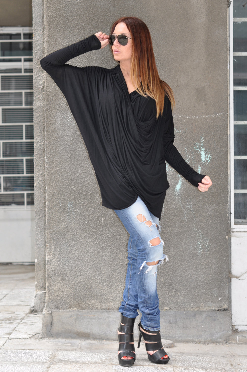 Black Trendy Cotton Maxi Tunic