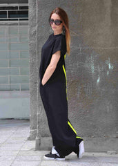 Black Maxi Dress With Back Detail - EUG FASHION
