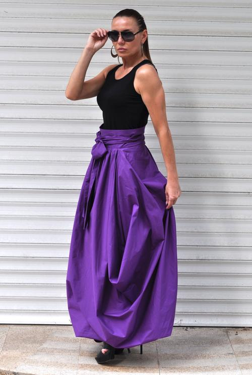 Cotton Black Long Wide Skirt