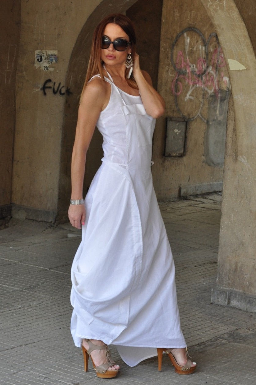 Long White Cotton Dress in Two Parts