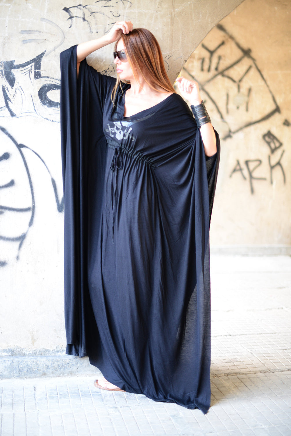 Black Maxi Dress, Long Dress, Daywear Dress, Cotton Maxi Dress
