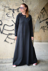 Long Black Cotton dress, Dresses & Maxi Dresses