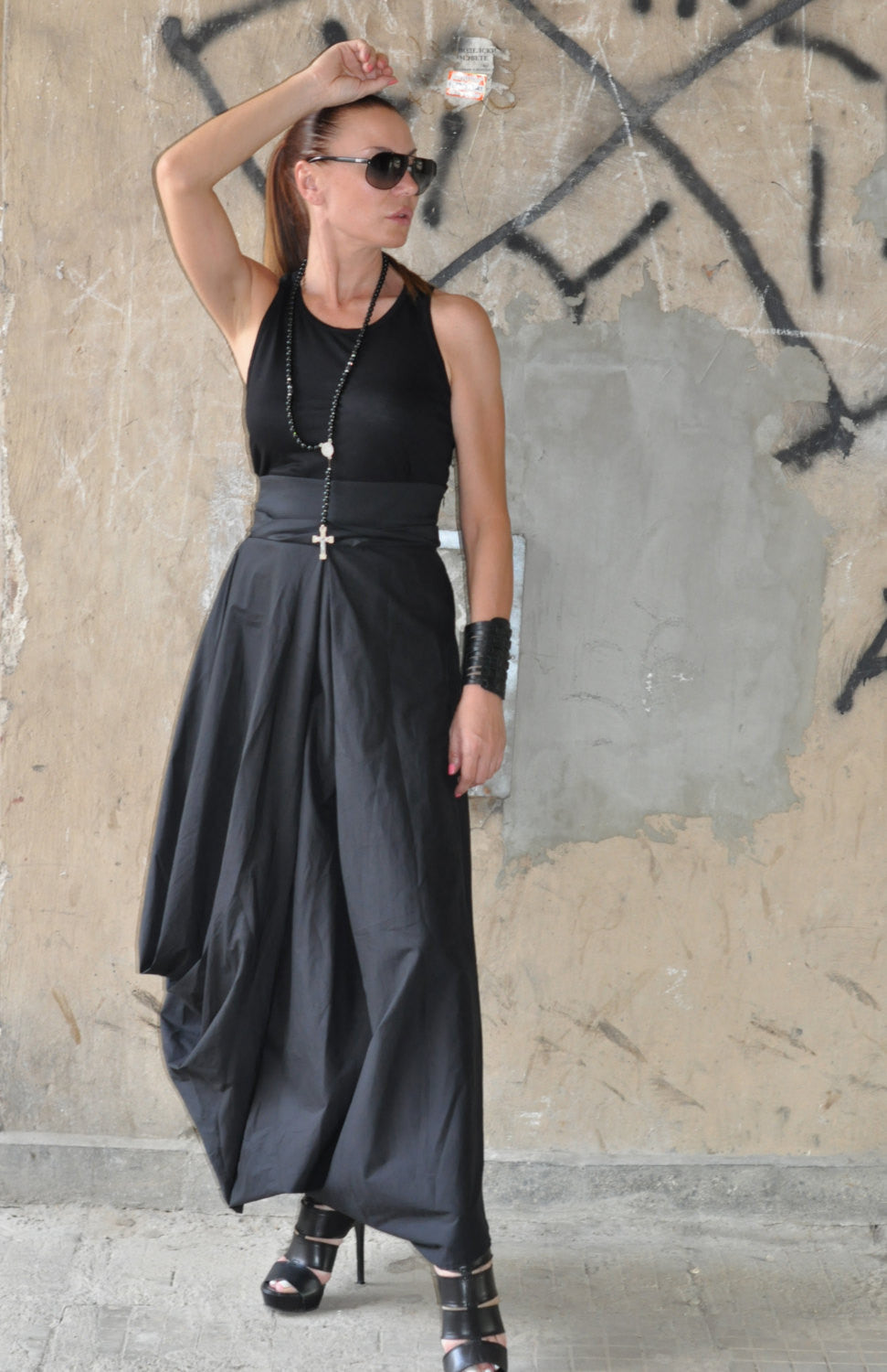 Cotton Black Long Wide Skirt, Skirts