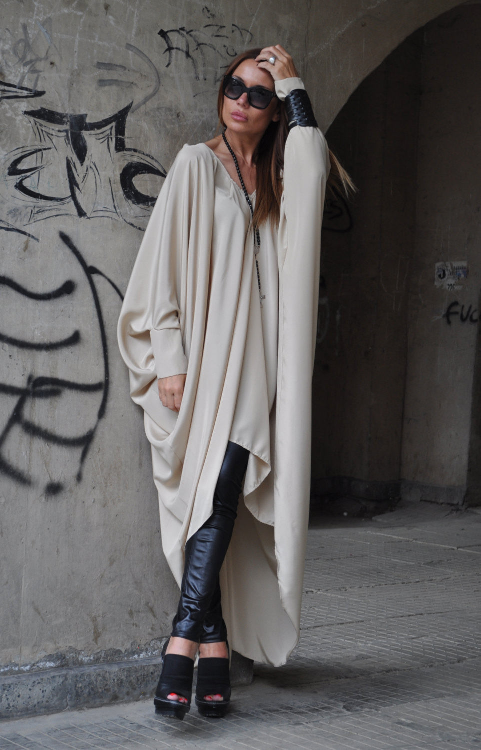 Beige Long Kaftan Daywear Dress
