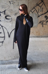 Plus Size Maxi Dress, Long Dress, Daywear Dress, Maxi Dress Turtleneck, Extra Long Sleeves Dress