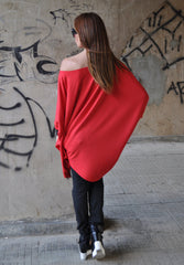 Red Maxi Cotton Tunic