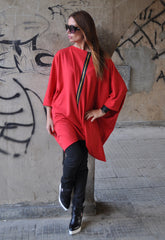 Oversize Red Twisted Tunic, Loose Red Top, Black Zipper Loose Red Tunic