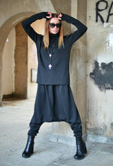 Harem Pants Set, Elegant Tricot set, Black Sports Set, Drop Crotch Pants, Turtleneck Blouse