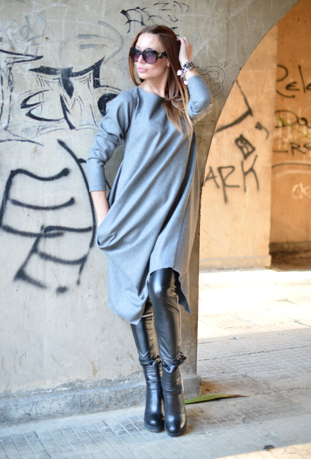 Autumn Winter Grey Cashmere Dress, Dresses & Maxi Dresses