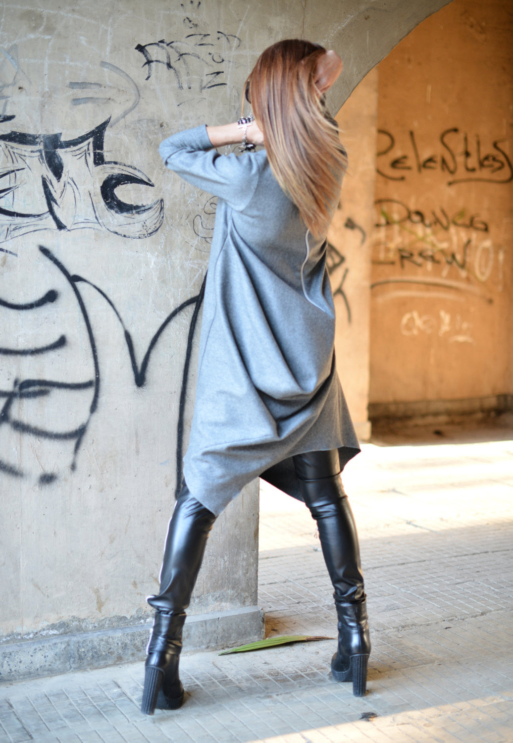 Maxi Dress Grey wool Cashmere Dress, Asymmetrical Kaftan