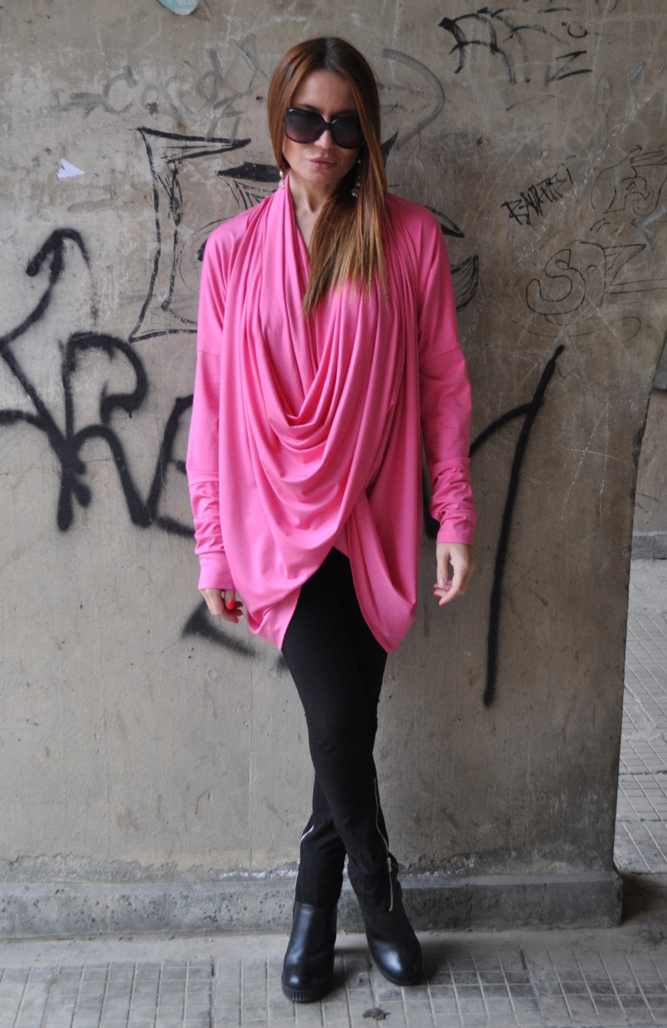 Pink Asymmetrical Top, Extra Long Sleeves Blouse, Asymmetric Loose Cotton Tunic Top