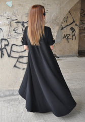 Long Georgette Dress, Elegant Black Kaftan Dress