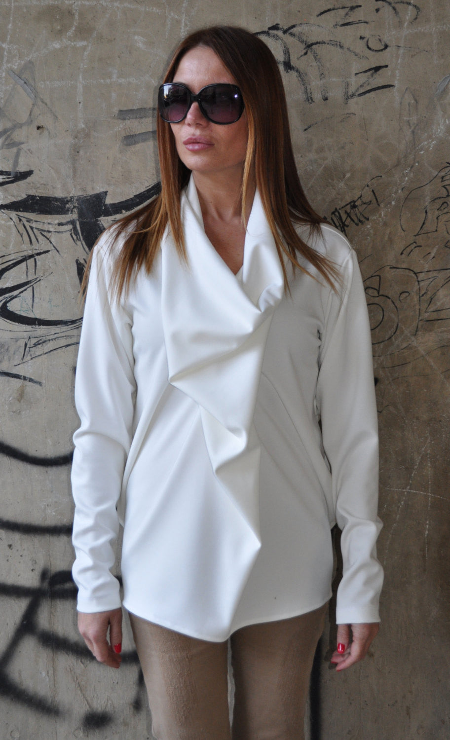 White Tunic Dress, Oversize White Loose Casual Top, Loose White Top