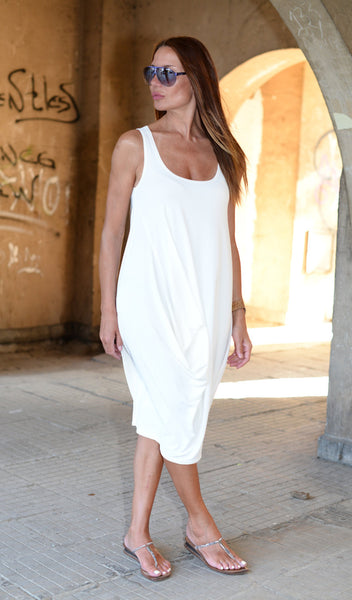 White Summer Dress, White Loose Shirt, Loose Asymmetric White Dress, Women's Dress, Oversize Dress
