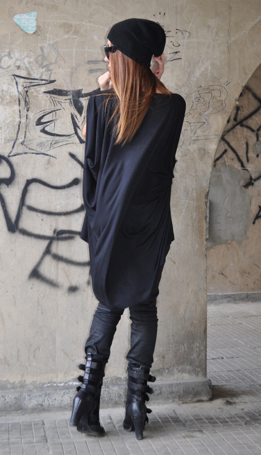 Cotton black asymmetrical Women Tunic, Oversize Black Top