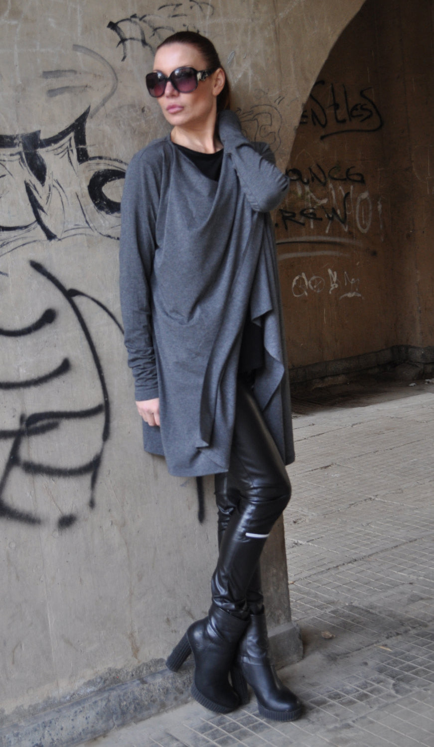 Autumn Dark Grey Women vest, Maxi Vest, Loose Vest, Cotton Top