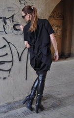 Black Quilted Poly Cotton Dress , Black Cotton Tunic, Asymmetric Loose Top