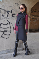 Black Neoprene Sleeveless Coat