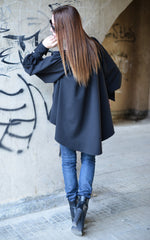 Women's Tunic,Black Elegant Shirt, Oversize BlackTop, Blouse With Sleeves, Asymmetric Maxi Top