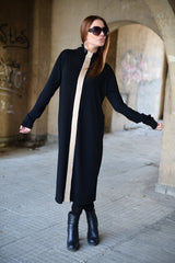Knit Dress with Leggings, Black Knitted Tunic, Black Loose Dress, Golden Ribbon, Elegant Black Set