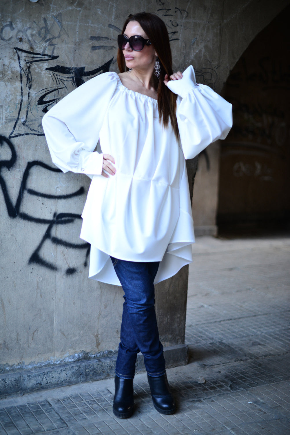 Off Shoulder White Dress, Blouse With Sleeves, Asymmetric Maxi Top