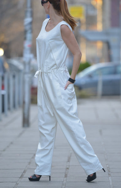 Sexy Off White Polyviscose Drop Crotch Jumpsuit,Party Loose Jumpsuit Back