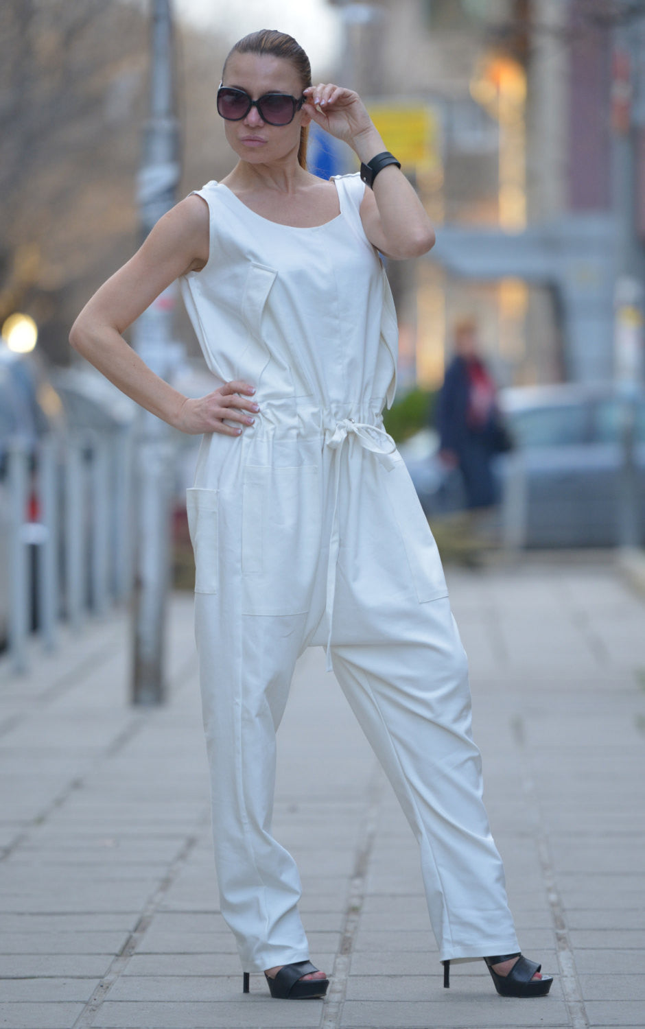 White Summer Sleeveless Jumpsuit, Jumpsuits & Rompers