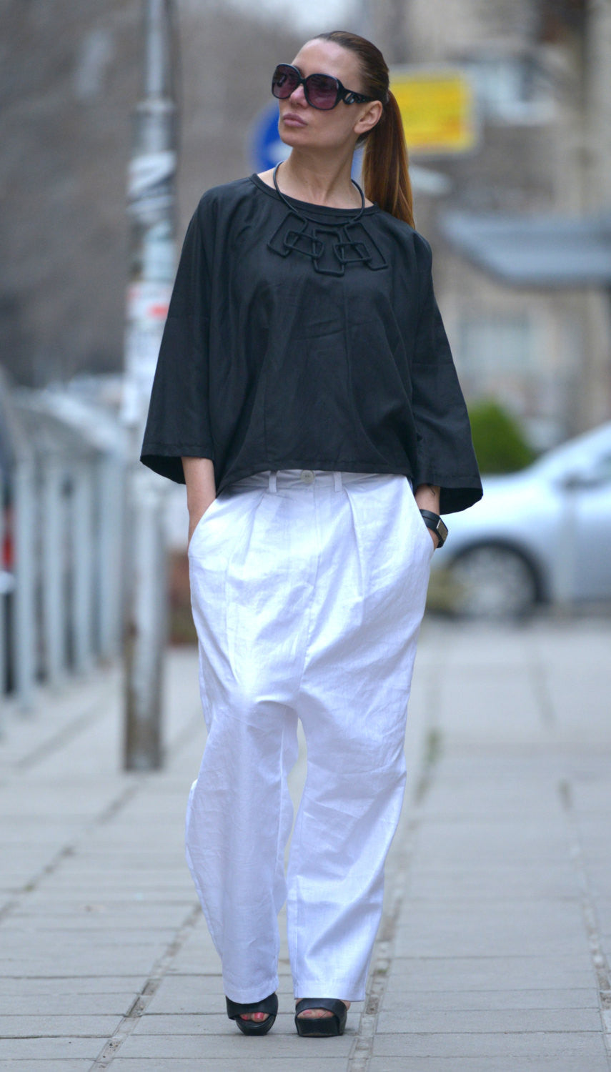 Maxi Dress Linen Flax Pants, White Linen Harem Pants, Drop Crotch Pants, White Harem Pant