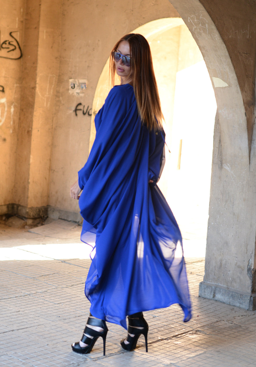 Blue Chiffon Maxi Dress, Long Dress, Plus size Dress, Evening Dress ...