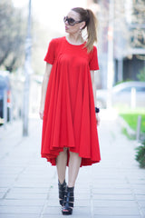 Loose Dress, Party Dress, Red Woman Dress, Red Maxi Summer Dress