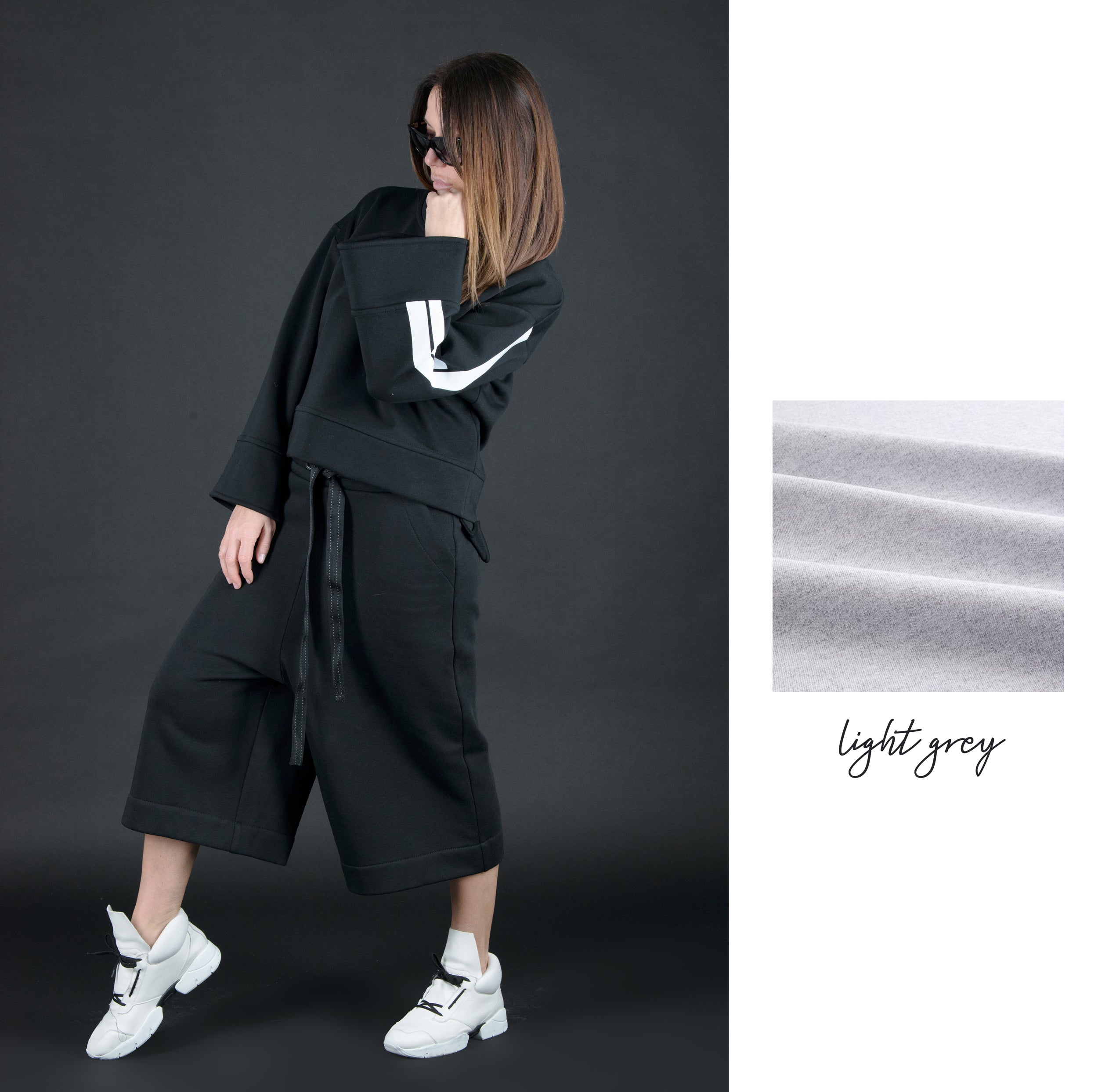 Two pieces set, Black Cotton Fashion Tracksuit