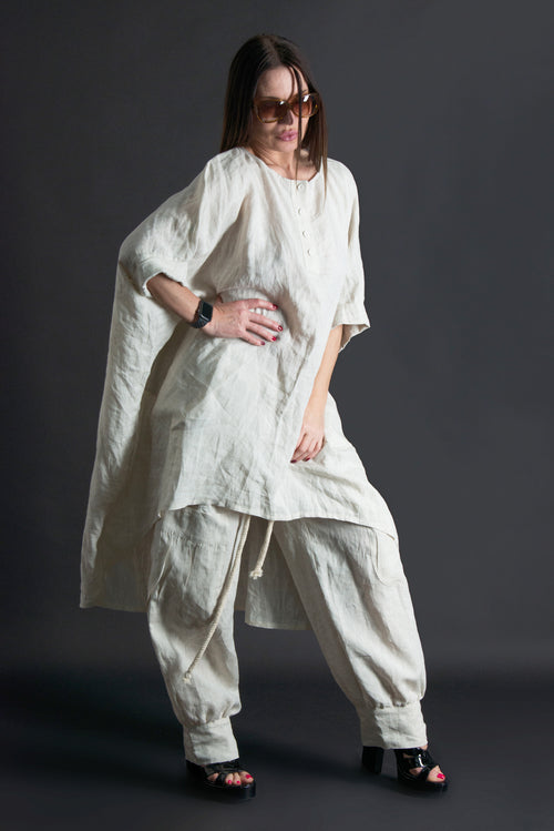 Two pieces Set, Natural Linen outfit, Linen Clothing