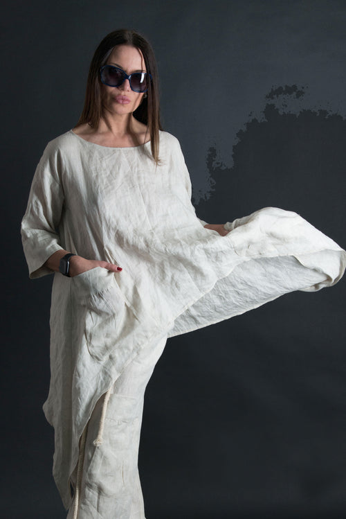 Natural Linen Tunic, Wide Long Loose A-line tunic, Linen Clothing