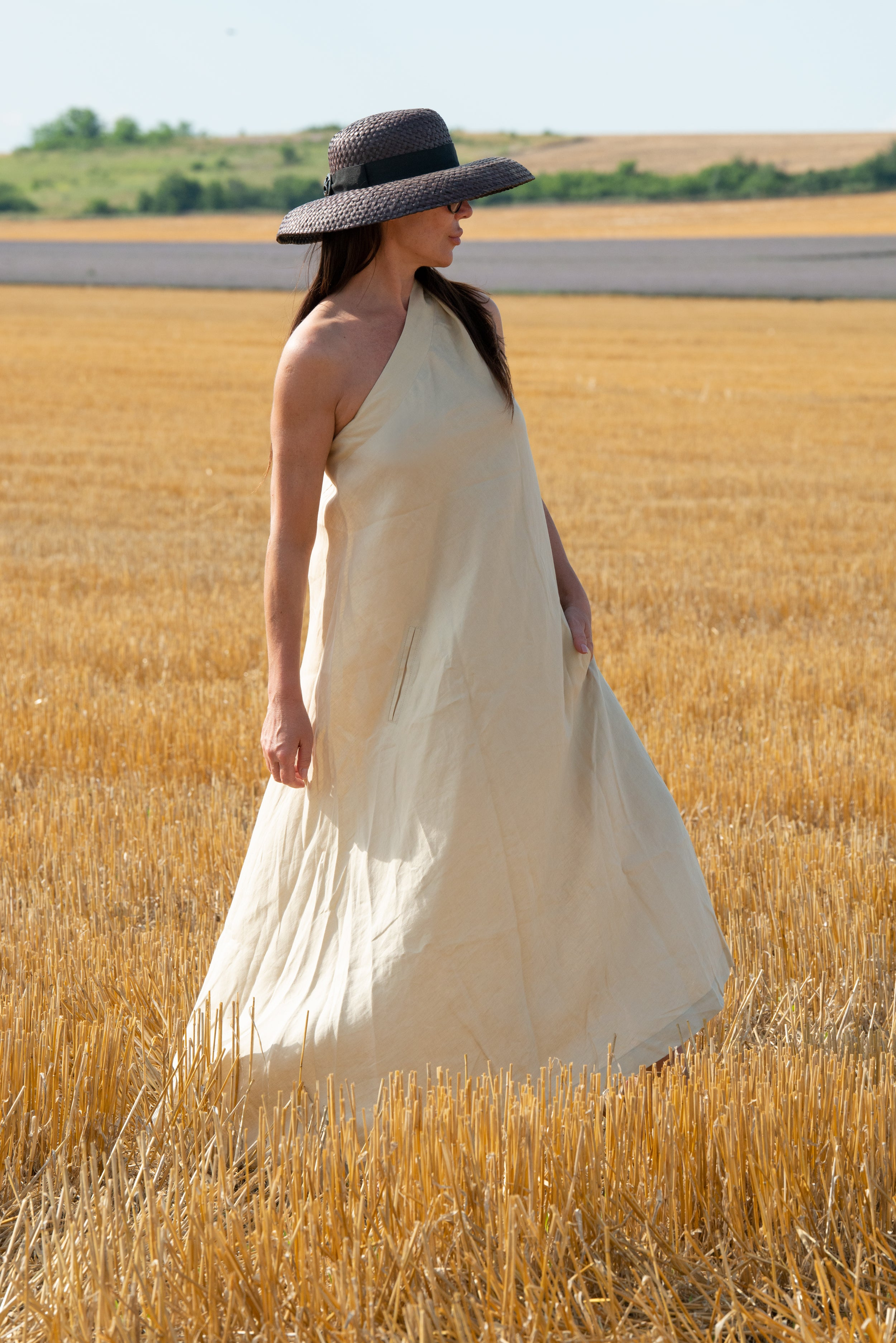 Blue Linen summer Dress, New Arrival
