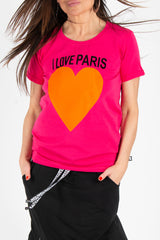 Printed Hot Pink tshirt with Paris Love, New Arrival