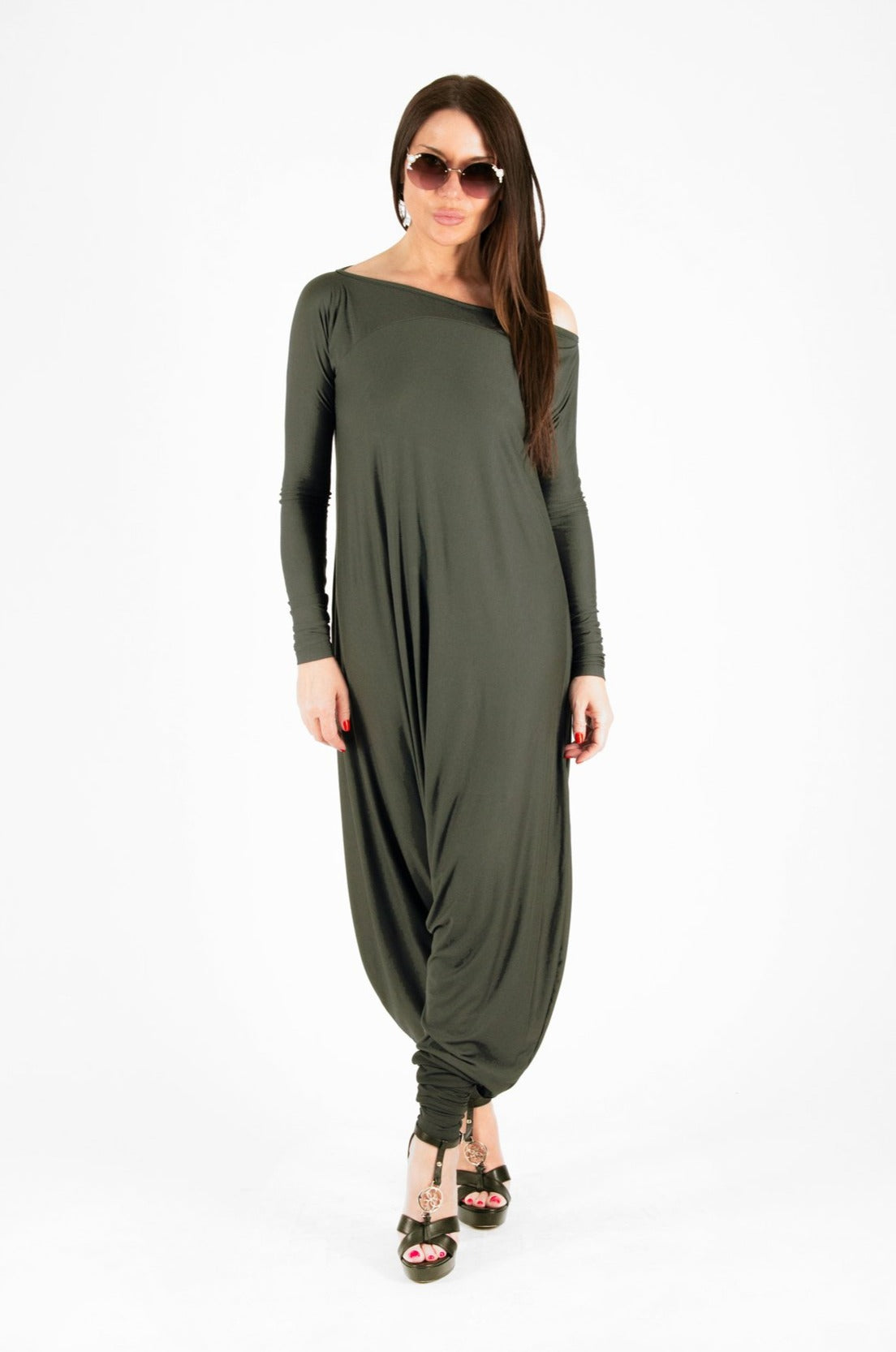 Maxi Military Green Cotton Jumpsuit, Jumpsuits & Rompers